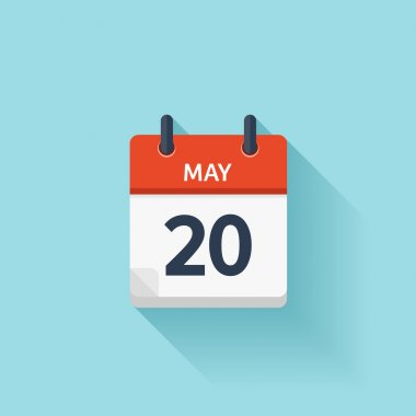 May  20. Vector flat daily calendar icon. Date and time, day, month. Holiday.