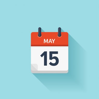May  15. Vector flat daily calendar icon. Date and time, day, month. Holiday.