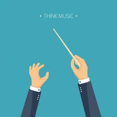 Vector illustration. Flat background. orchestra conductor. Music. Hands.