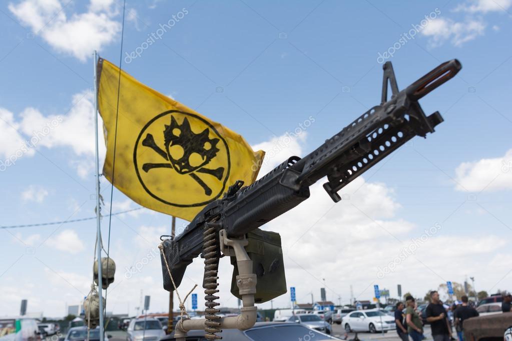 Machine Gun and Flag