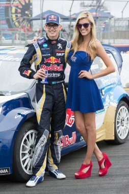 Kevin Hansen Jr rally driver at the Red Bull GRC Global Rallycross