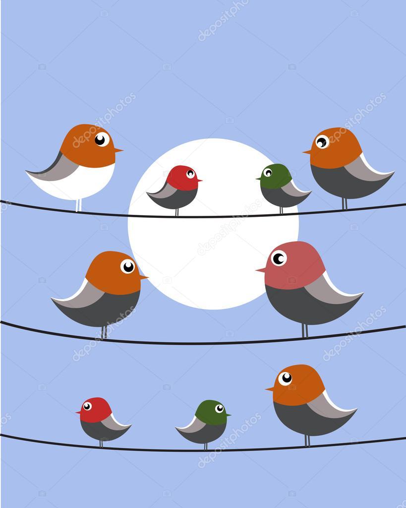 Neun Vögel auf Draht — Stockvektor © adriatico #63453203