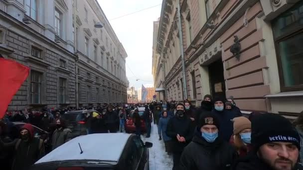 St. Petersburg, Russia, January 31 2021. Anti-corruption protests after Alexei Navalnys arrest on Putins Palace