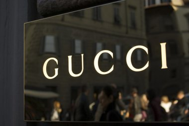 Close up of Gucci logo at store entrance
