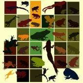 Sada barevných silueta žába