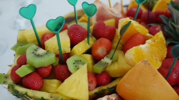 Assorted tropical fruits on buffet table