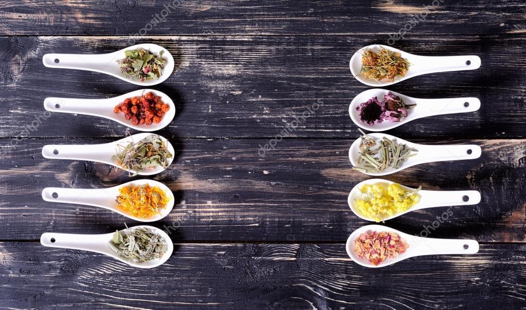 Herbs in ceramic bowls