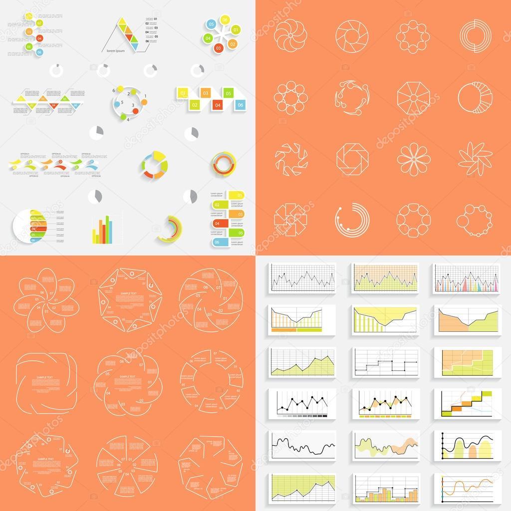 Infografiken, Graphen und Diagramme, Vorlagen für Präsentation, vect ...