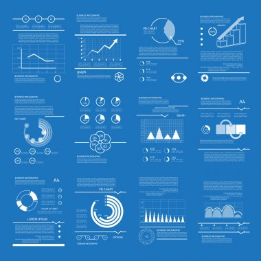 Outline infographic templates, web elements, diagrams and graphs