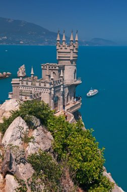 Neo-Gothic palace against blue sea background