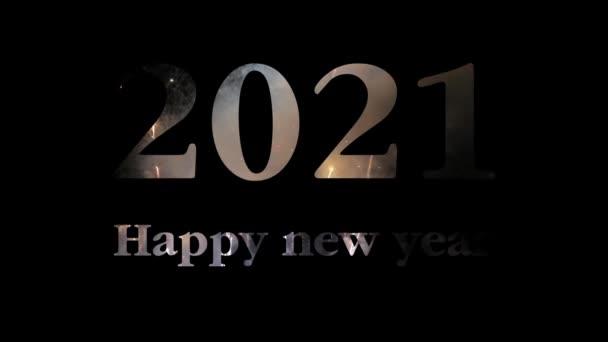 Šťastný Nový rok 2021 ohňostroj festival na obloze displej expozice pozdrav text na černém pozadí