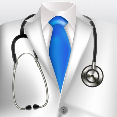 Close up of a doctors lab white coat and stethoscope. clip art vector