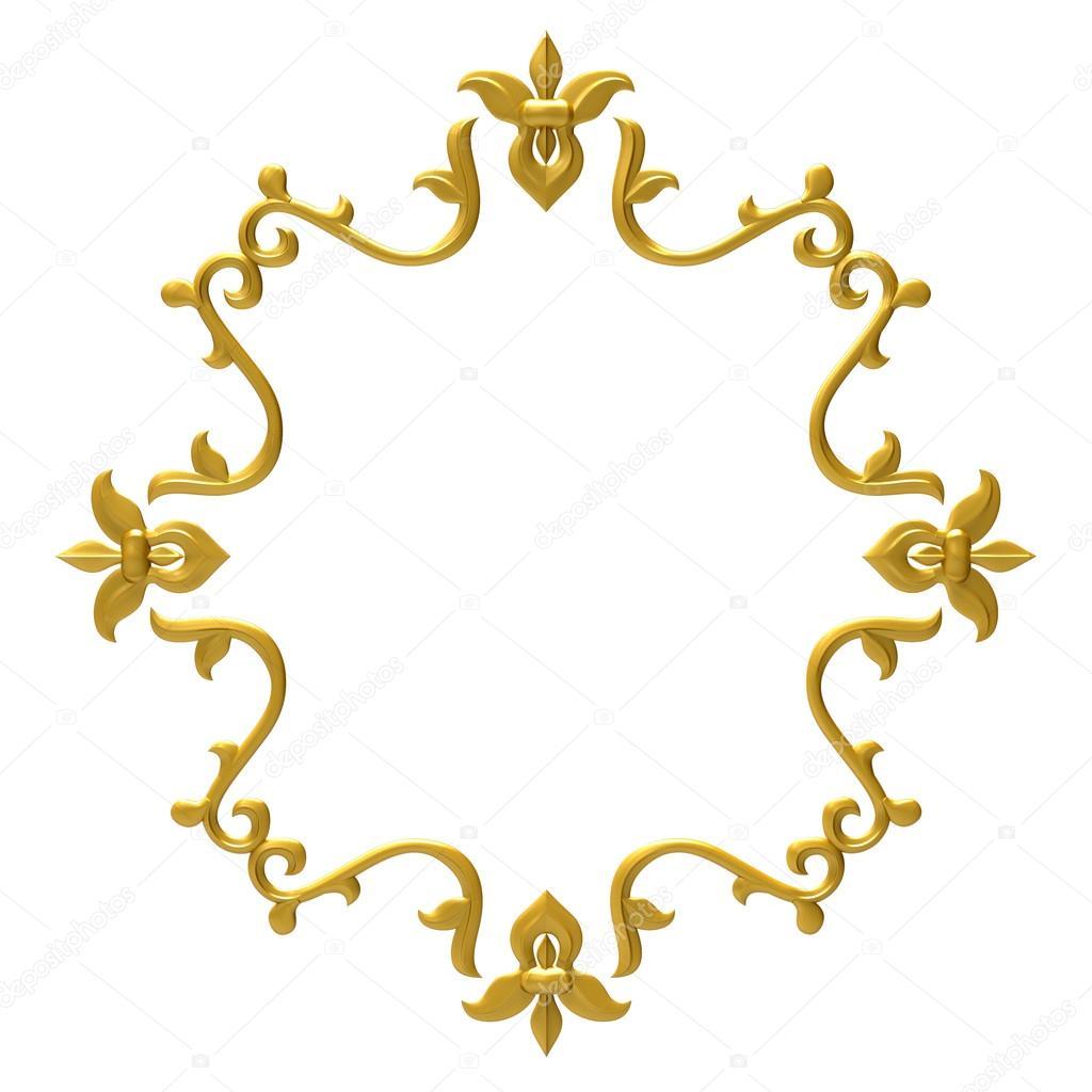 Gold Vintage Frame Isolated On White Background Stock Photo