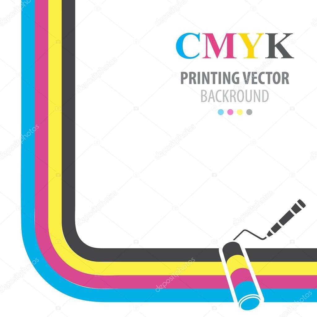 Fondo De Vector CMYK Rodillo De Pintura De Colores Impresin Vector De Stock C Asakosakura