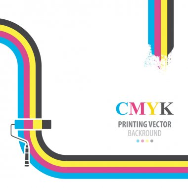 CMYK vector background. Print colors paint roller.