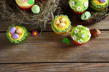 Easter treats, cupcakes top view