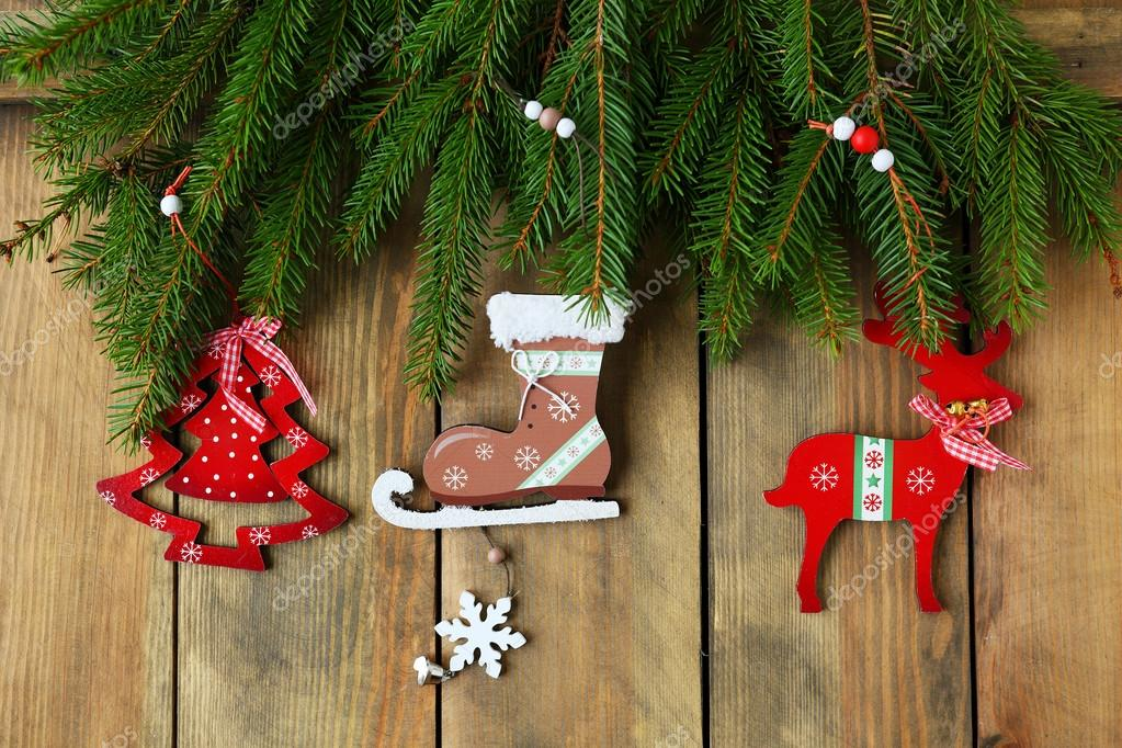 antique christmas decorations and spruce stock photo