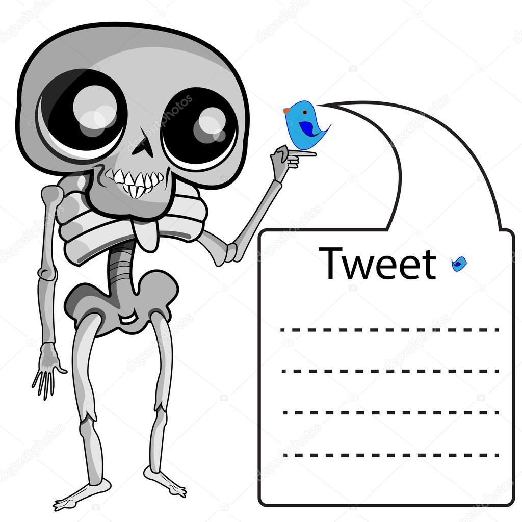 Esqueleto con etiqueta de twitter — Vector de stock © babi00 #118883320