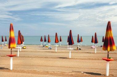 Umbrellas beach closed in a Italian beach