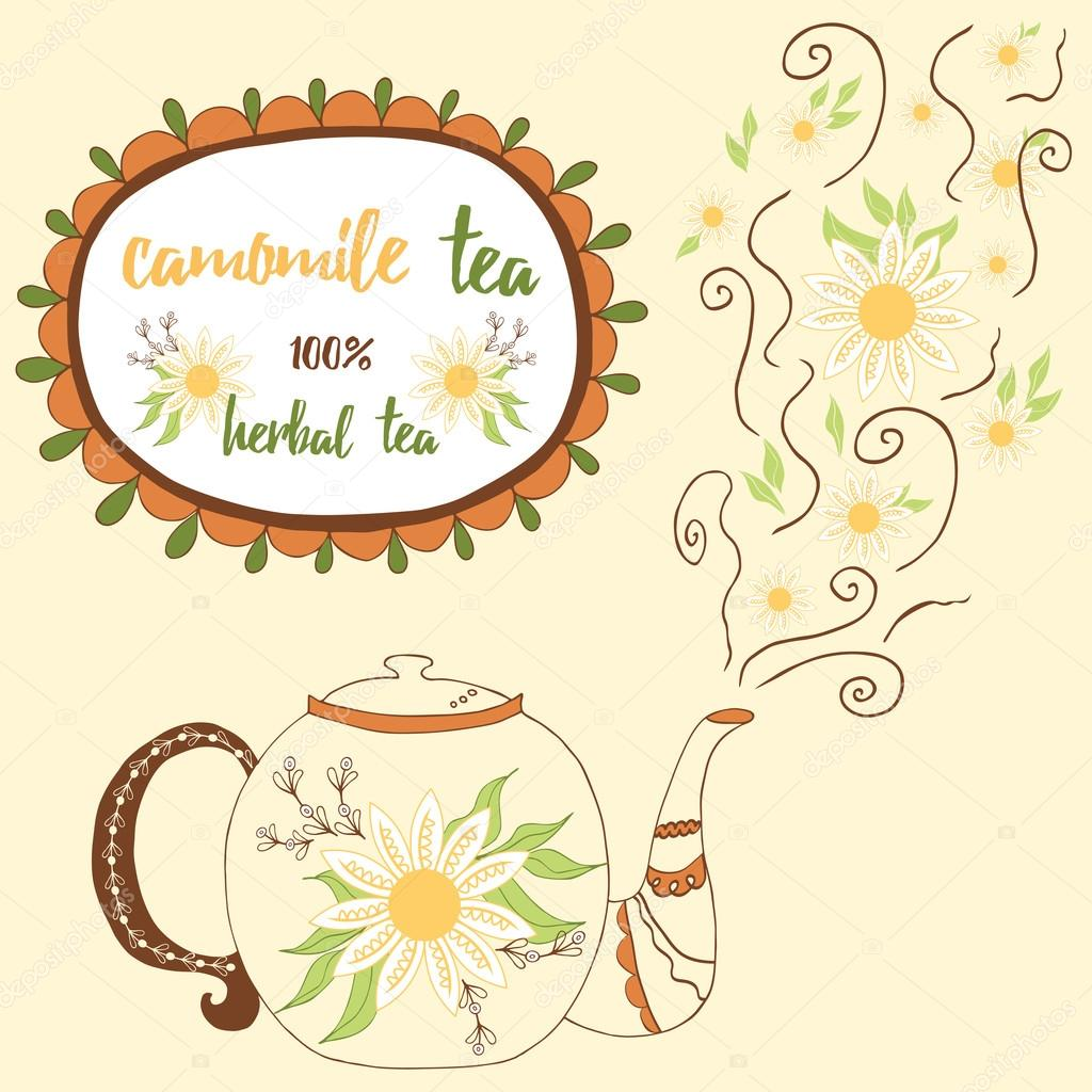 Hand drawn teapot with camomile tea. Perfect steam with flowers.