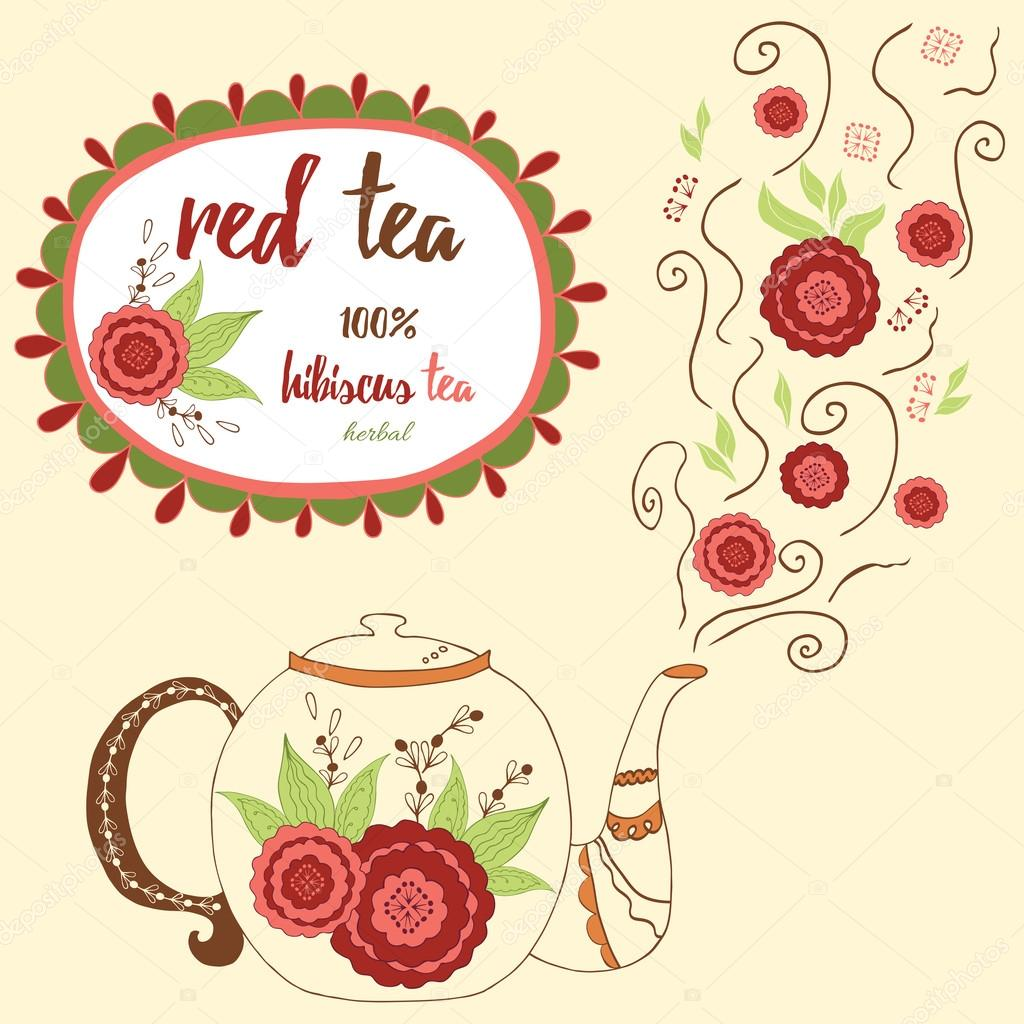 Hand drawn teapot with red hibiscus tea. Perfect steam with doodle flowers.