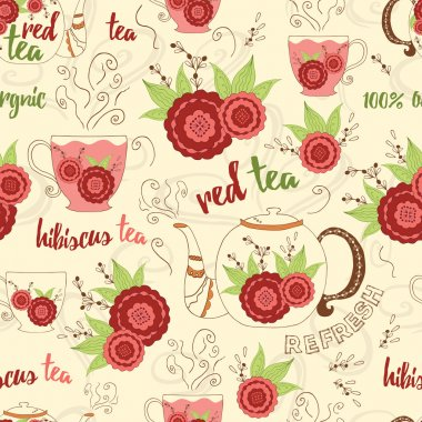 Bright hand drawing seamless texture with red hibiscus tea, fresh steam and design elements. Cup, mug, teapot, kettle
