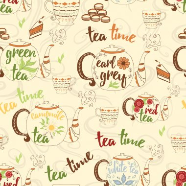 Bright hand drawing seamless texture with cute teapots, cups, cake, fresh steam and design elements for tea time. Cup, mug, teapot, kettle