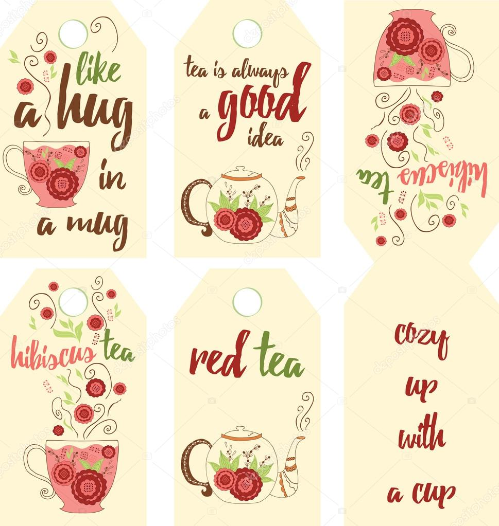 . Set of hand drawing red tea labels with hibiscus flavor.