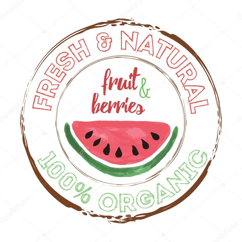 water melon organic fruit grunge rubber stamp or label on white