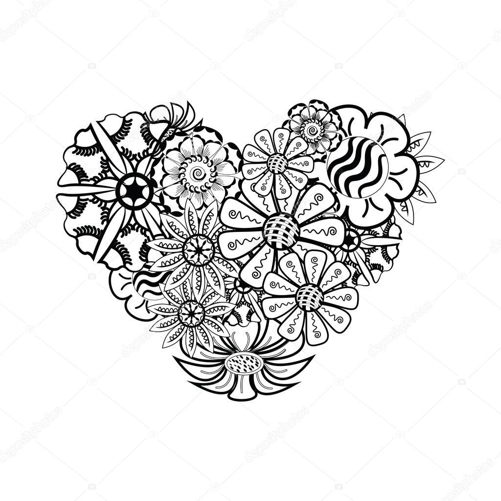 Boyama Kitabı Için Kalp şeklinde Desen Floral Retro Doodle