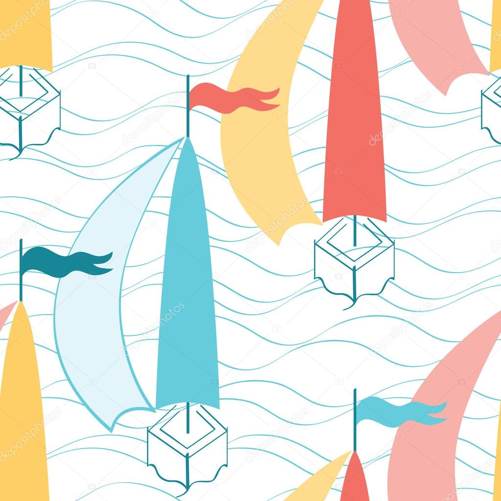 Seamless pattern with sea waves and cute colored sailing boats.
