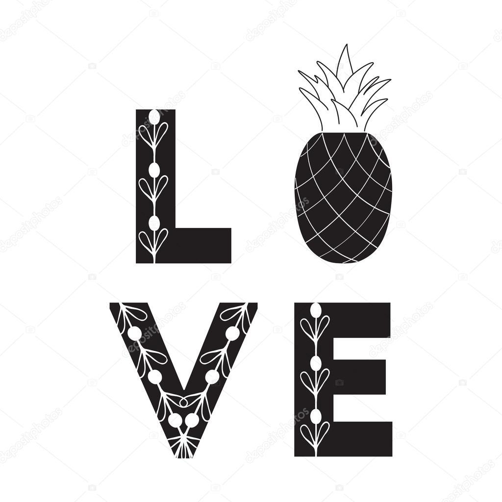 Signe De L Amour Fruits Abstraites Citation Ananas De