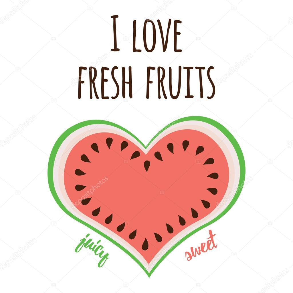 Watermelon symbol fresh fruit print made on cartoon design love sweet watermelon design symbol for fresh organic product market nature food cute watermelon slices colorful print love fresh fruits quote biocorpaavc