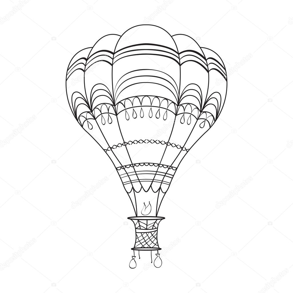 Coloring page adult and children with air balloon Stock Vector