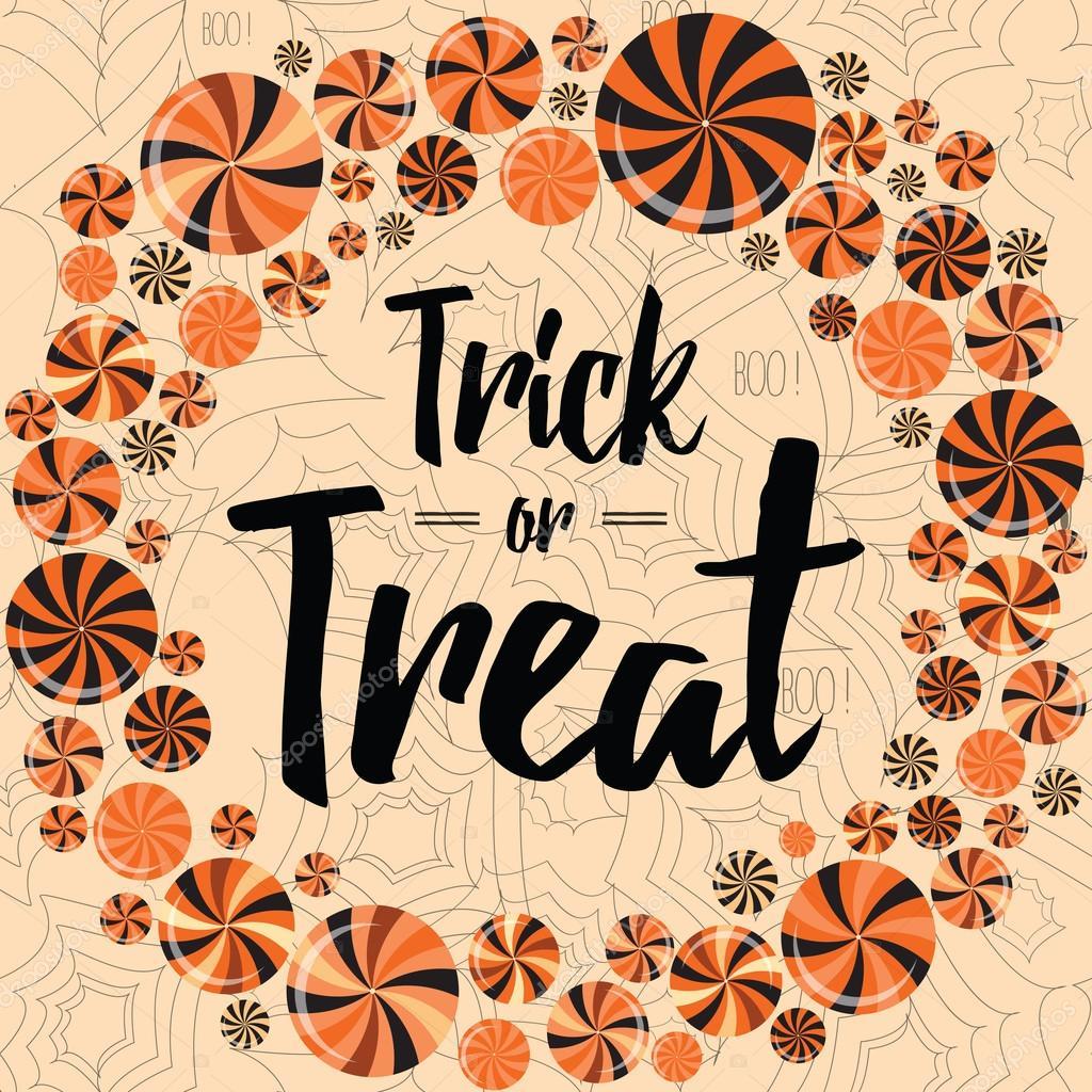 Halloween fiesta wearth con paletas brillantes. Trick or treat ...