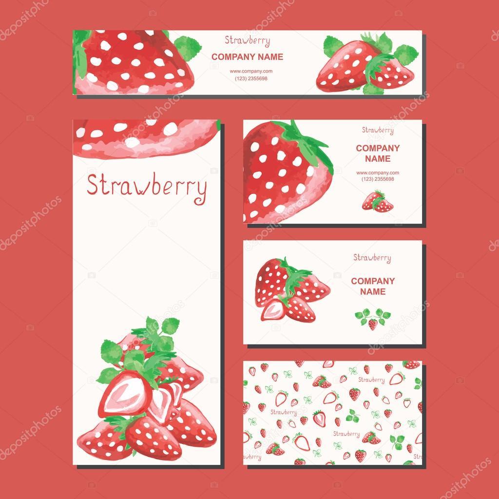 Business card design. Supermarket template. Fruit background