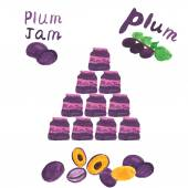 Photo Plum jam and fresh plums - isolated on white background. Vector illustration.