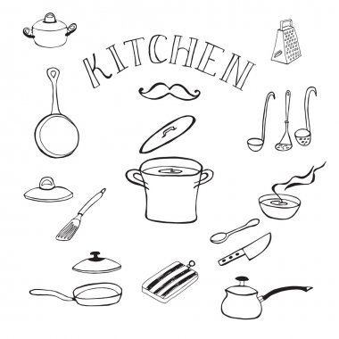 Set of kitchen tools. Doodles collection.