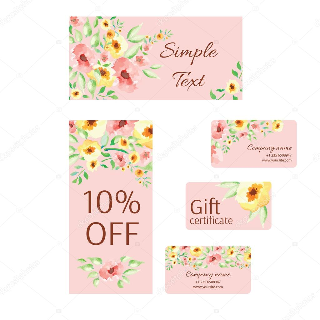 Business card templates, decorated with watercolor flower. — Stock ...
