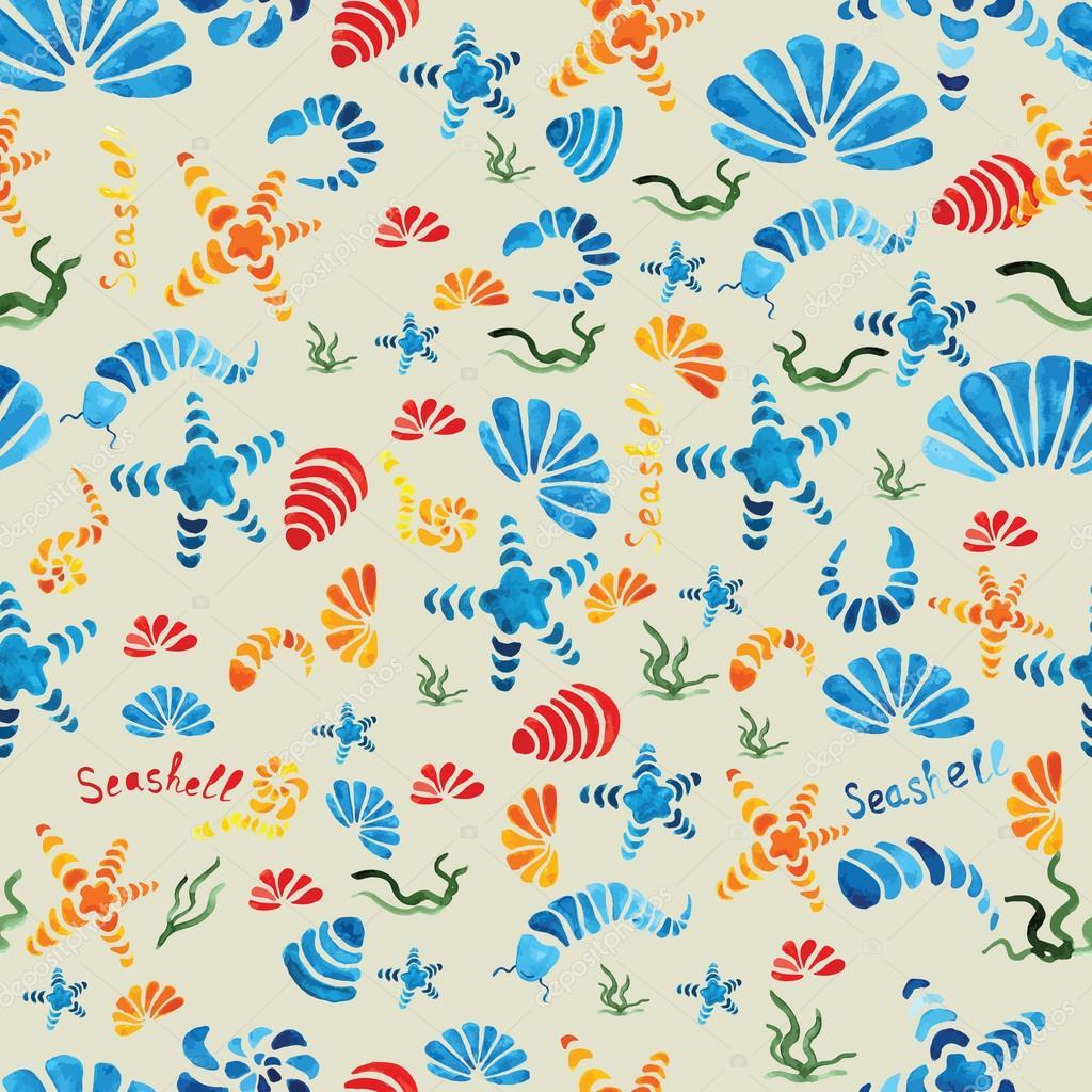 Sea shells watercolor seamless pattern. Vector.
