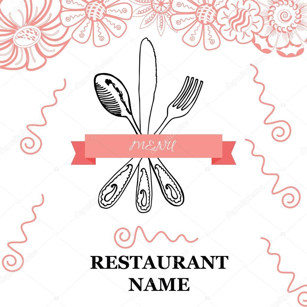 Fourchette couteau main cuill re dessin esquisse ensemble collection de couverts restaurant - Cuillere dessin ...