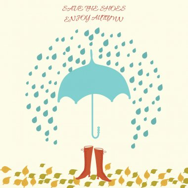 Vector illustration with umbrella and woman shoes under rain