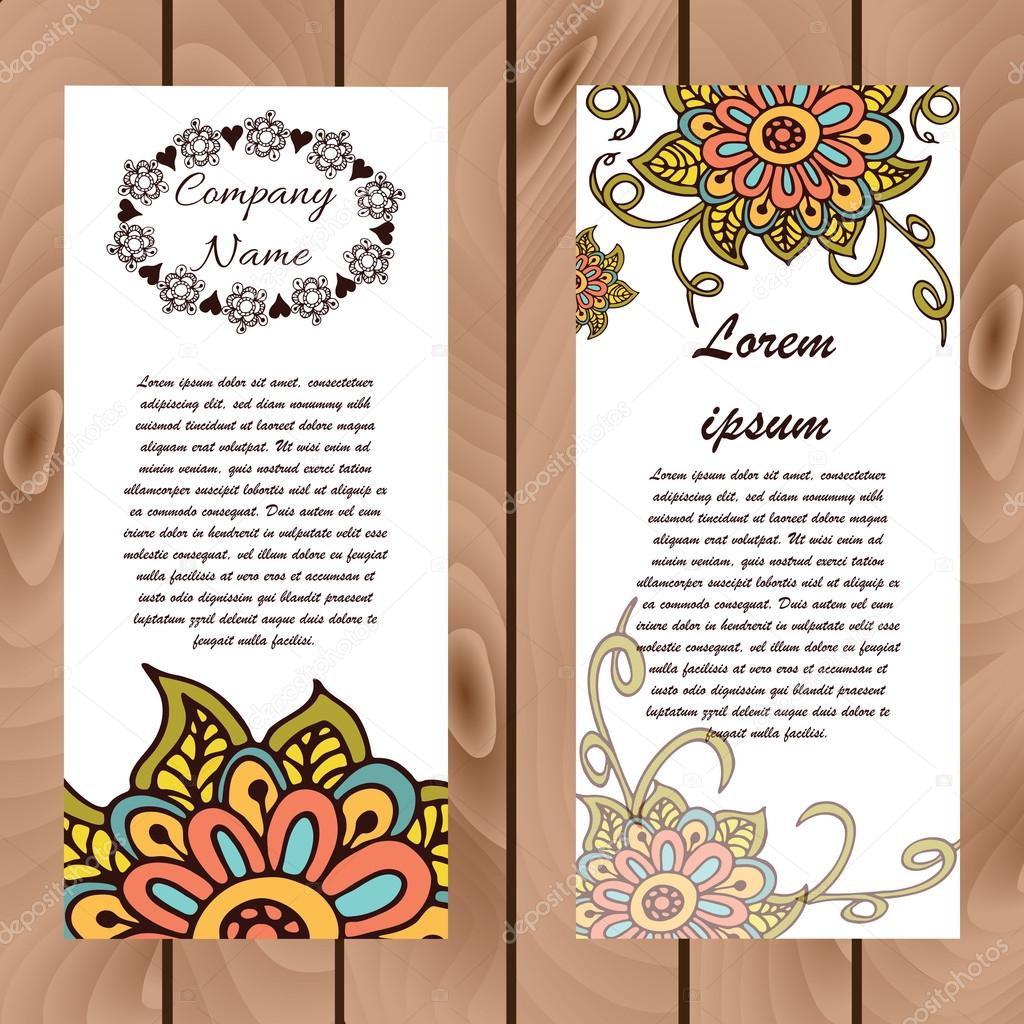 Abstract Floral Henna Indian Mehndi Card With Text Stock Vector