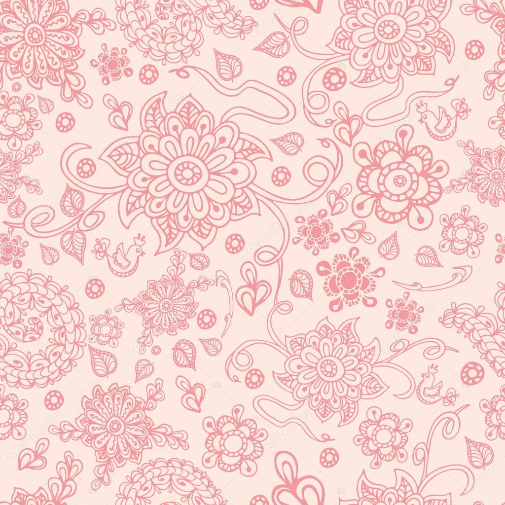 Seamless retro pink floral background, vector illustration
