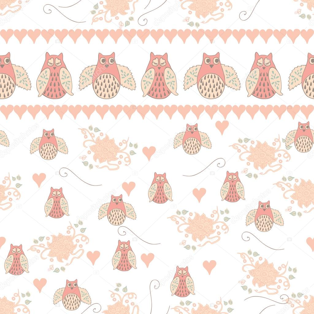 Baby seamless pattern with cute hand drawn flower and owls