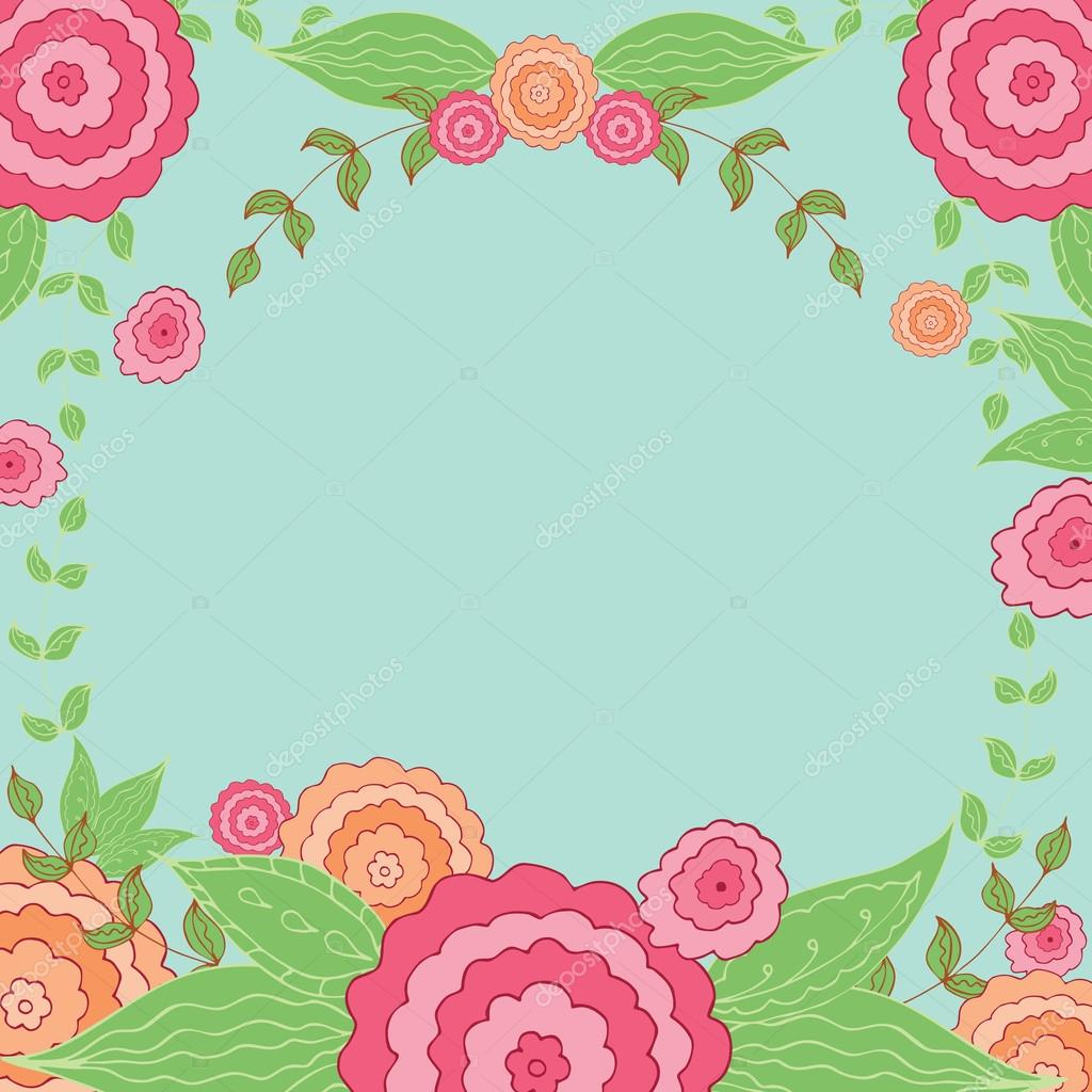 Floral Vintage Oval Frame Cute Retro Flowers For Wedding Invitations Stock Vector