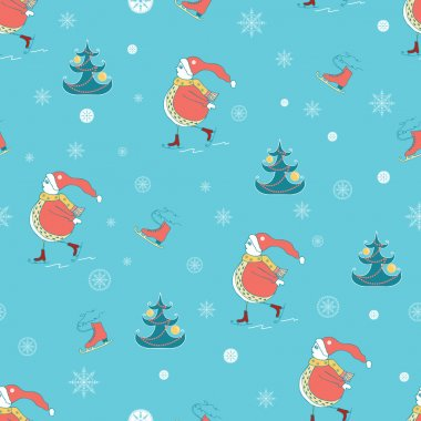 Christmas wrapping paper background with Snowman, Christmas tree and Skate on retro blue background. Vector illustration.