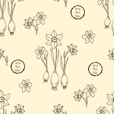 Seamless pattern with flowers narcissus, vector floral illustration in vintage style