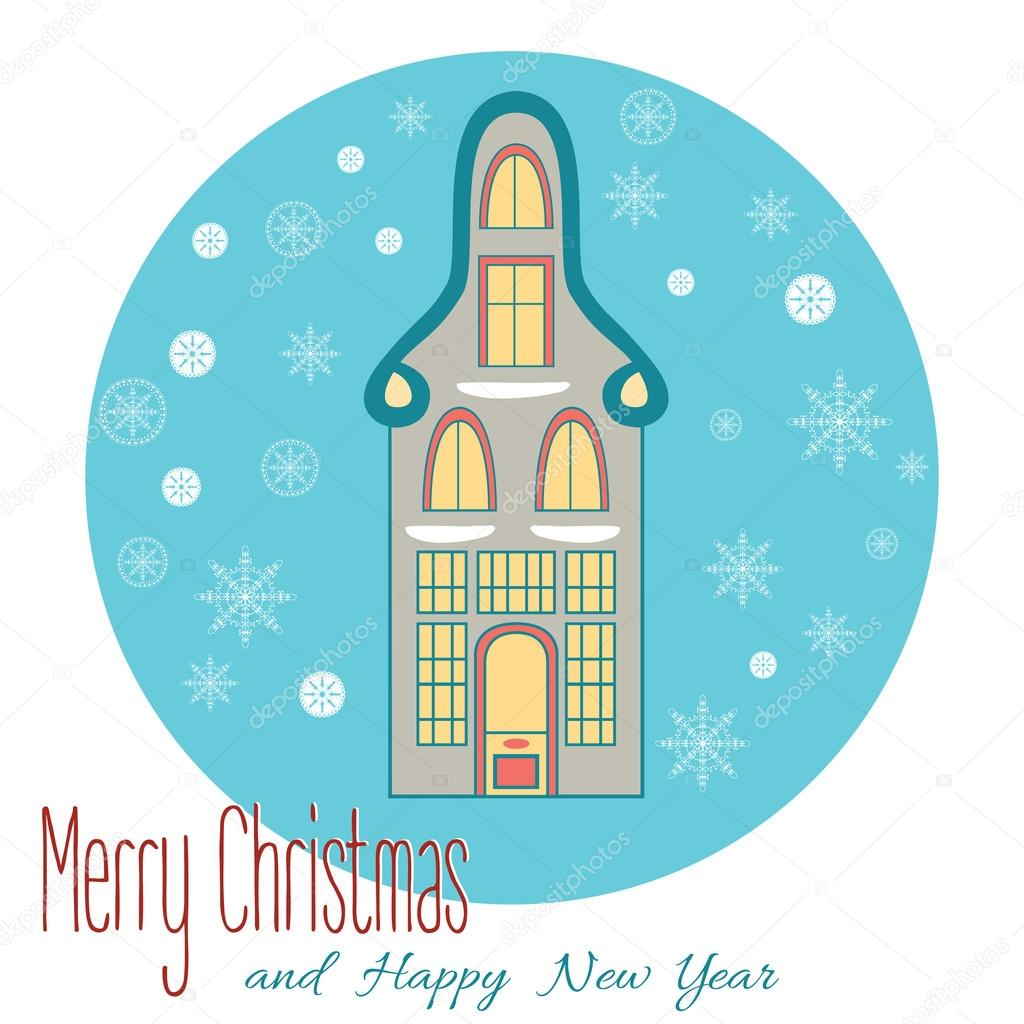 typical dutch houses vector illustration for christams or new year design vector by tkuzminka