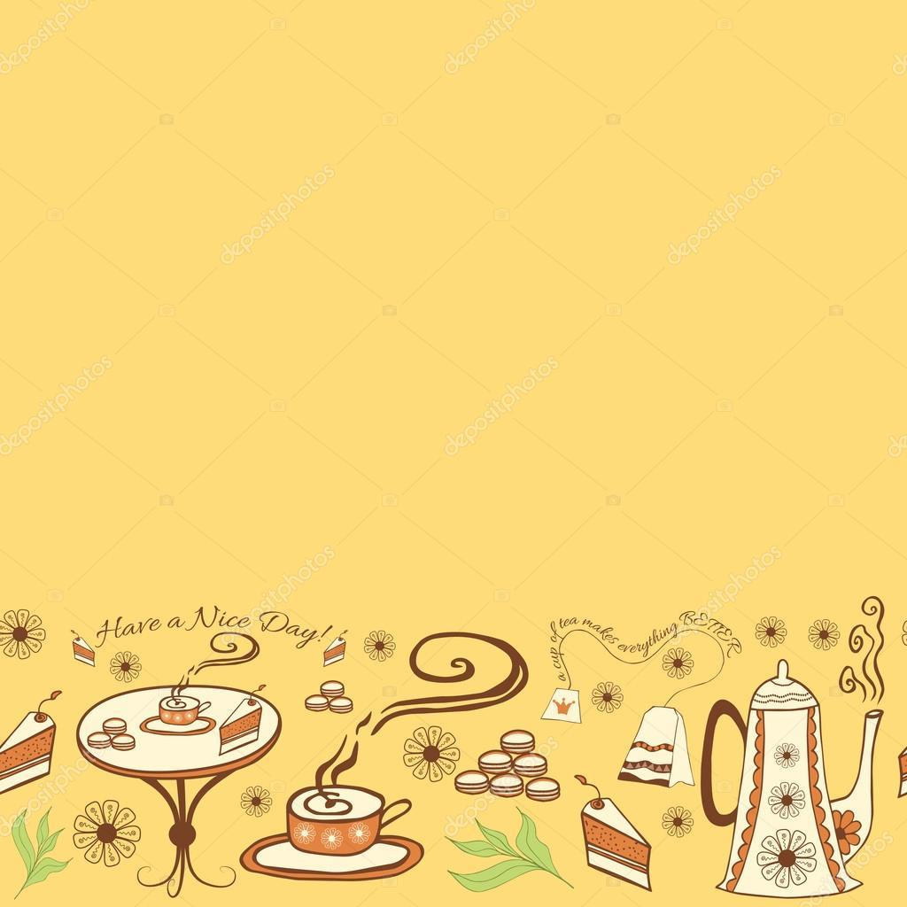 Marco lindo transparente de vector con una taza de té, tetera, torta ...